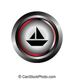 Glossy Sail Boat Sign Button