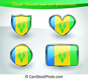 Glossy Saint Vincent and the Grenadines flag icon set with...