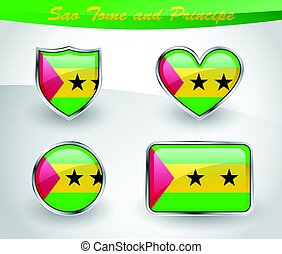 Glossy Sao Tome and Principe flag icon set with shield,...