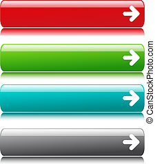 Glossy satin color buttons with arrow symbol