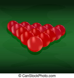 Red snooker balls arranged in a triangle on green felt table. Billiard table front view balls for poolroom sport game. Stock vector illustration