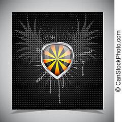 Glossy shield emblem on black background