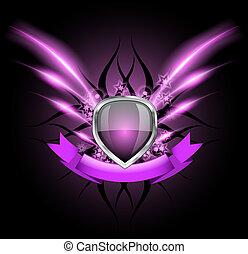 Glossy black shield emblem on dark background