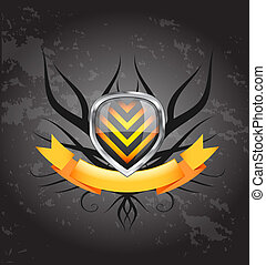 Glossy black and blue shield emblem on white background