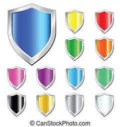 Glossy Shields - Glossy Shield vector Icons.