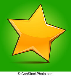 Glossy shining star toy on green background. Vector...