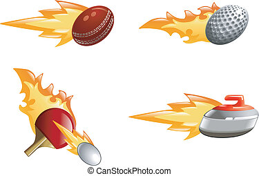 Glossy shiny flame sport icons