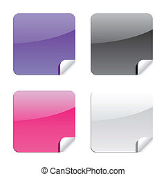 glossy shiny label stickers with peeling corner