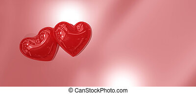 glossy shiny red hearts on shiny background in concept for love and partnership valentine 3d illustration render