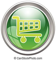 Glossy Shopping Cart Icon Button