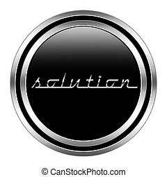 glossy solution icon in metallic style