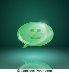 Glossy speech bubble icon with smile