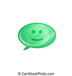 Glossy speech bubble icon with smile isolated on white background