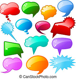 Glossy speech bubbles - Large collection of coloured glossy...