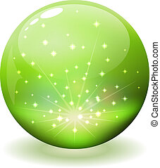 Glossy sphere with sparks inside isolated on white.