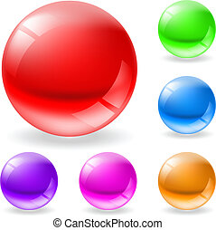 Collection of colorful glossy spheres isolated on white. Abstract color pearl.