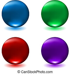 Glossy spheres in four different colours