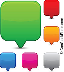 Glossy square speech bubbles. - Vector illustration of blank...