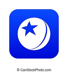 Glossy star ball icon blue