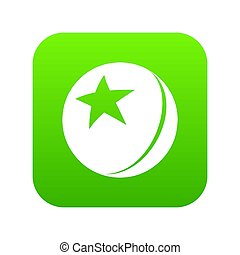 Glossy star ball icon green