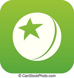 Glossy star ball icon green vector