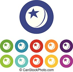 Glossy star ball icons set vector color