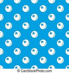 Glossy star ball pattern seamless blue
