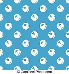 Glossy star ball pattern vector seamless blue