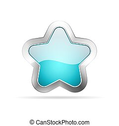 Glossy star icon. Vector illustration.
