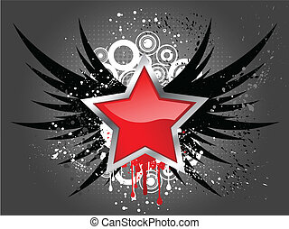 Glossy star on grunge