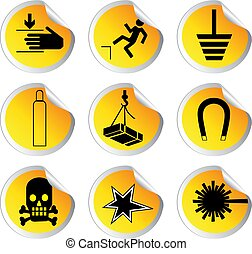glossy stickers with warning signs