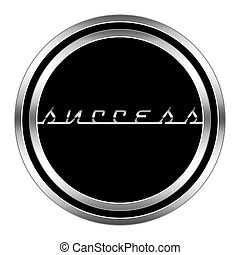 glossy success icon in metallic style