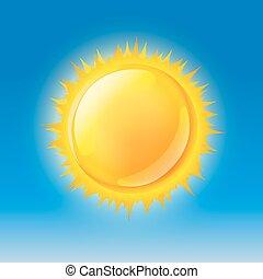glossy sun on blue sky