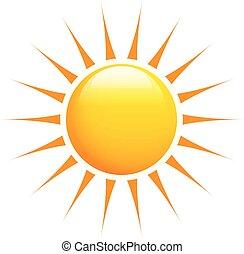 Glossy sun with orange rays