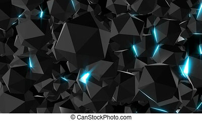 Glossy surface jewels with lights, 3d render computer...