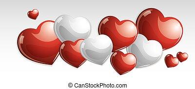 Glossy sweet hearts