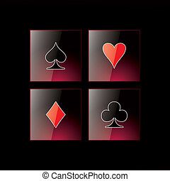 Glossy symbols of playing cards