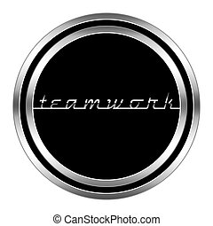 glossy teamwork icon in metallic style