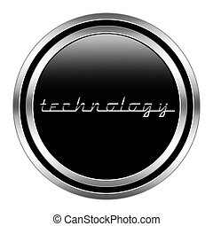 glossy technology icon in metallic style