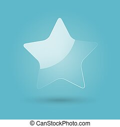 Glossy transparent star isolated on blue background. Web icon. Vector Illustration.