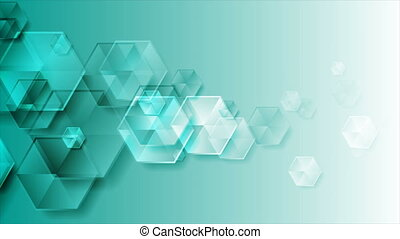 Glossy turquoise hexagons abstract tech motion background. Video animation Ultra HD 4K 3840x2160