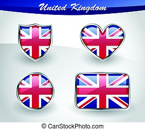 Glossy United Kingdom flag icon set