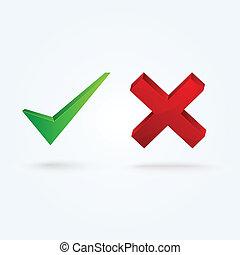 Glossy validation icons. Check and Xmark - Validation icons....