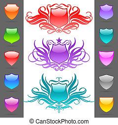 Glossy vector heraldic shields