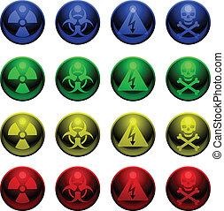 Glossy warning symbols