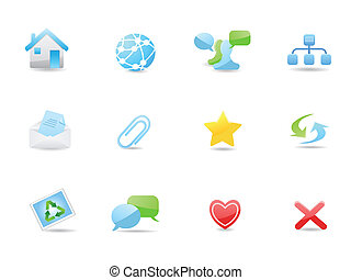 Glossy web and blog icons set
