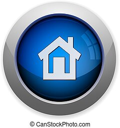 glossy web button blue home