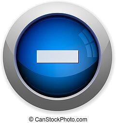glossy web button blue minus