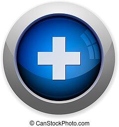 glossy web button blue plus