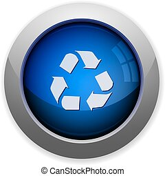 glossy web button blue recycling